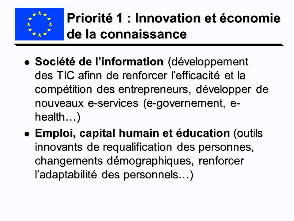 Priorité 1 : Innovation et économie de la connaissance l Société de linformation (développement des TIC afinn de renforcer lefficacité et la compétiti