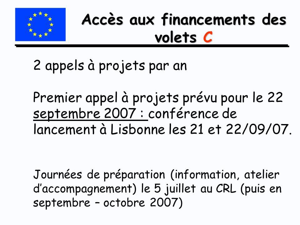 Accès aux financements des volets C 2 appels à projets par an Premier appel à projets prévu pour le 22 septembre 2007 : conférence de lancement à Lisb