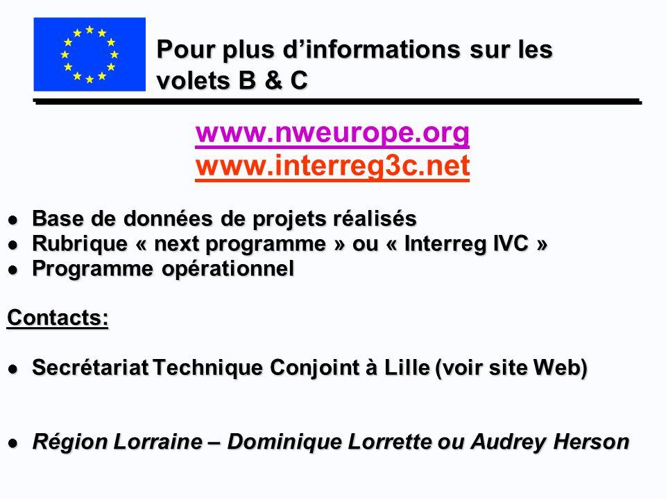 Pour plus dinformations sur les volets B & C www.nweurope.org www.interreg3c.net l Base de données de projets réalisés l Rubrique « next programme » o