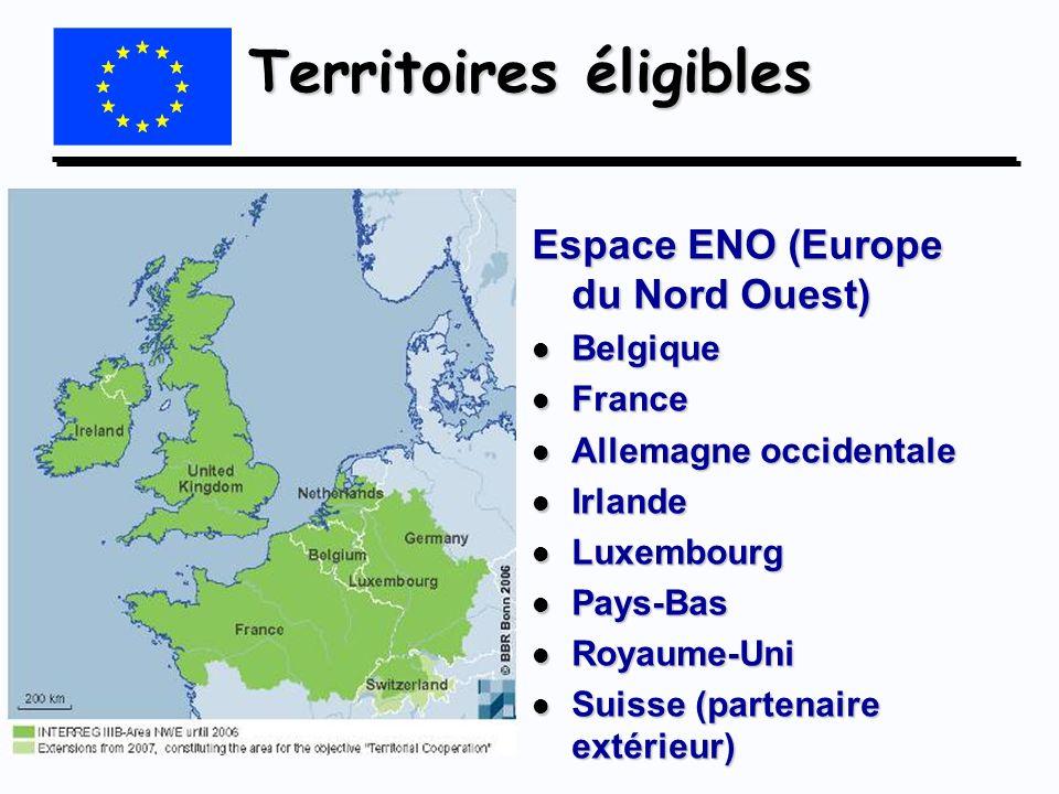 Territoires éligibles Espace ENO (Europe du Nord Ouest) l Belgique l France l Allemagne occidentale l Irlande l Luxembourg l Pays-Bas l Royaume-Uni l
