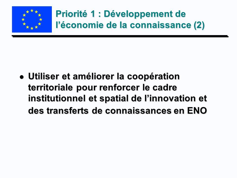 Priorité 1 : Développement de léconomie de la connaissance (2) l Utiliser et améliorer la coopération territoriale pour renforcer le cadre institution