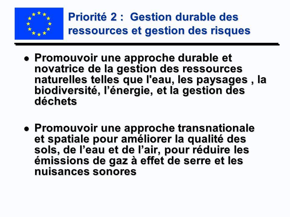 Priorité 2 : Gestion durable des ressources et gestion des risques l Promouvoir une approche durable et novatrice de la gestion des ressources naturel