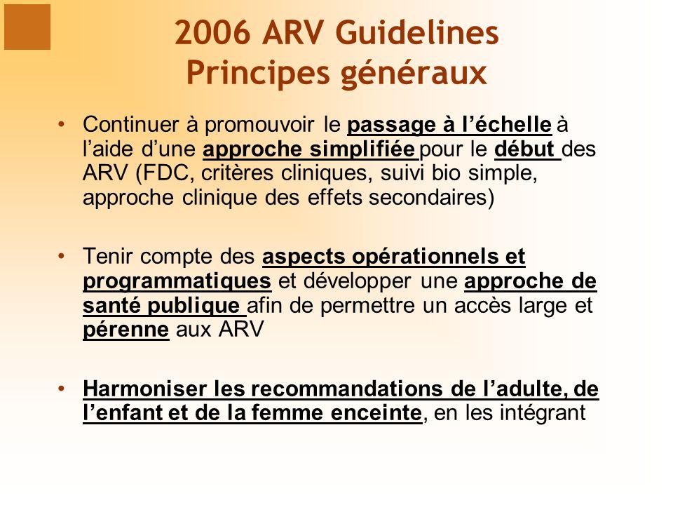 2006 ARV Guidelines Principes généraux Continuer à promouvoir le passage à léchelle à laide dune approche simplifiée pour le début des ARV (FDC, critères cliniques, suivi bio simple, approche clinique des effets secondaires) Tenir compte des aspects opérationnels et programmatiques et développer une approche de santé publique afin de permettre un accès large et pérenne aux ARV Harmoniser les recommandations de ladulte, de lenfant et de la femme enceinte, en les intégrant