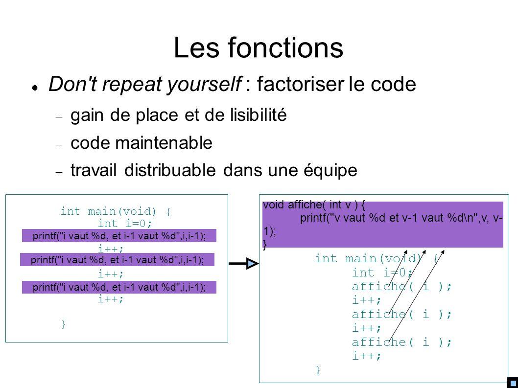 Les fonctions Don t repeat yourself : factoriser le code gain de place et de lisibilité code maintenable travail distribuable dans une équipe int main(void) { int i=0; i++; i++; i++; } printf( i vaut %d, et i-1 vaut %d ,i,i-1); int main(void) { int i=0; affiche( i ); i++; affiche( i ); i++; affiche( i ); i++; } void affiche( int v ) { printf( v vaut %d et v-1 vaut %d\n ,v, v- 1); }