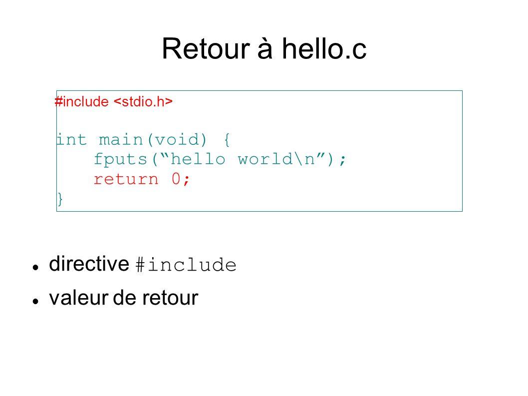 Retour à hello.c directive #include valeur de retour #include int main(void) { fputs(hello world\n); return 0; }