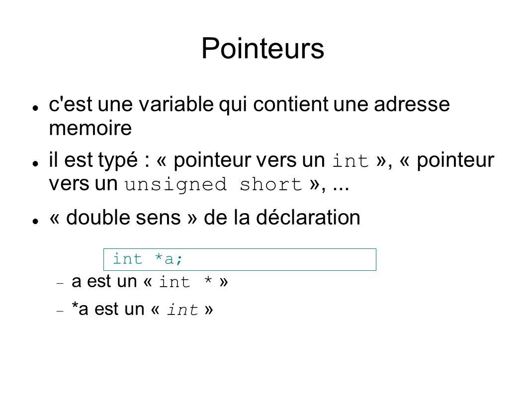 Pointeurs c est une variable qui contient une adresse memoire il est typé : « pointeur vers un int », « pointeur vers un unsigned short »,...