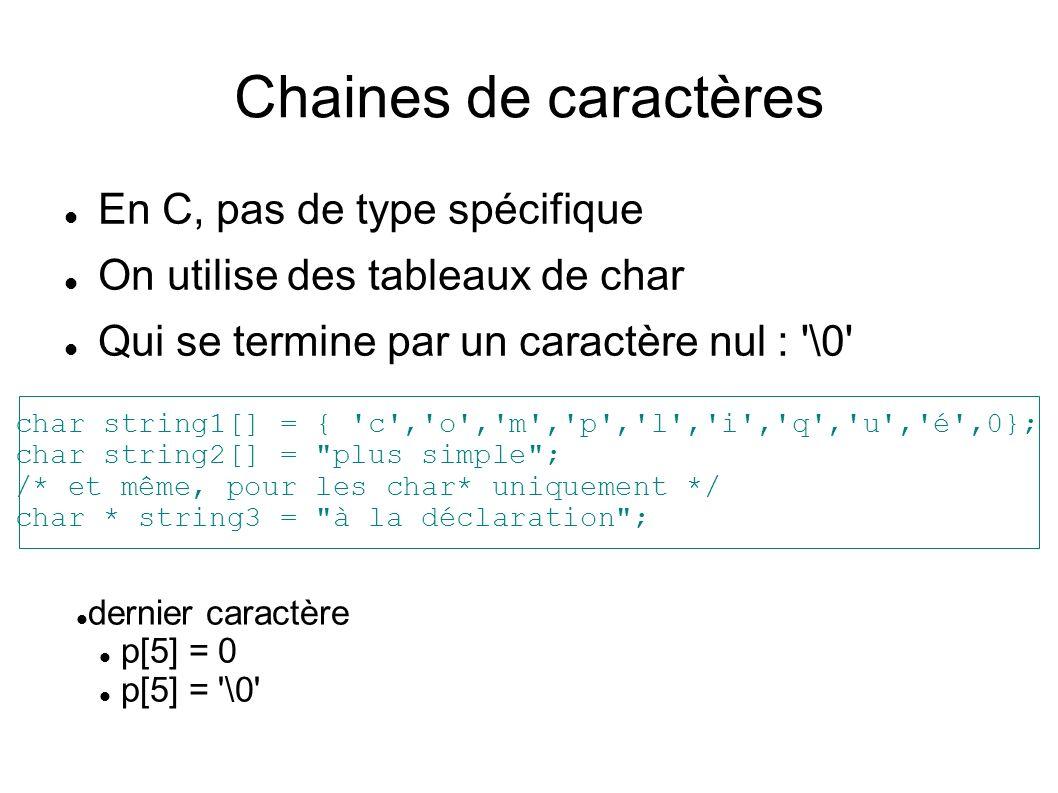 Chaines de caractères En C, pas de type spécifique On utilise des tableaux de char Qui se termine par un caractère nul : \0 char string1[] = { c , o , m , p , l , i , q , u , é ,0}; char string2[] = plus simple ; /* et même, pour les char* uniquement */ char * string3 = à la déclaration ; dernier caractère p[5] = 0 p[5] = \0
