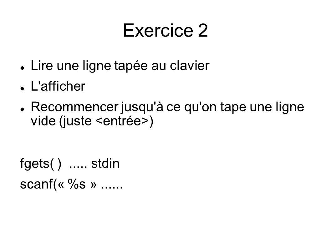 Exercice 2 Lire une ligne tapée au clavier L afficher Recommencer jusqu à ce qu on tape une ligne vide (juste ) fgets( ).....
