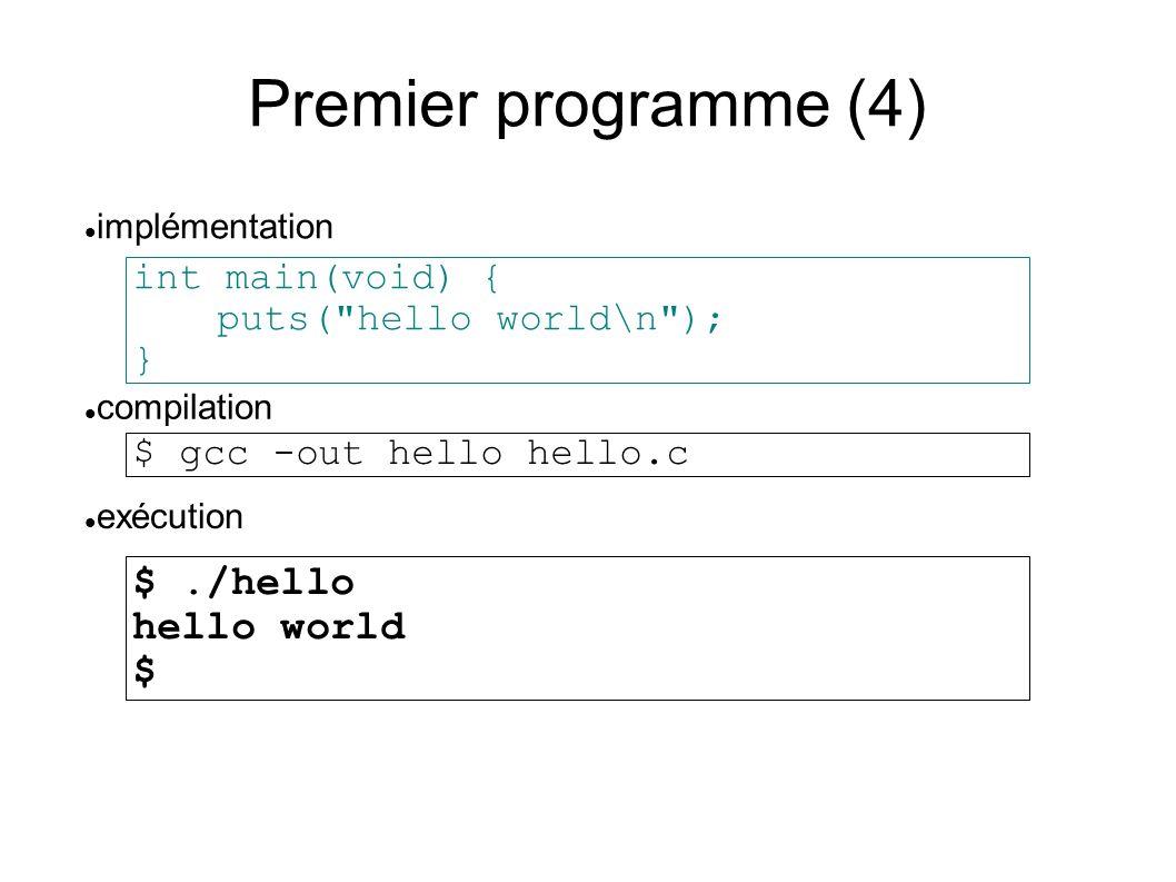 Premier programme (4) int main(void) { puts( hello world\n ); } compilation implémentation $ gcc -out hello hello.c exécution $./hello hello world $
