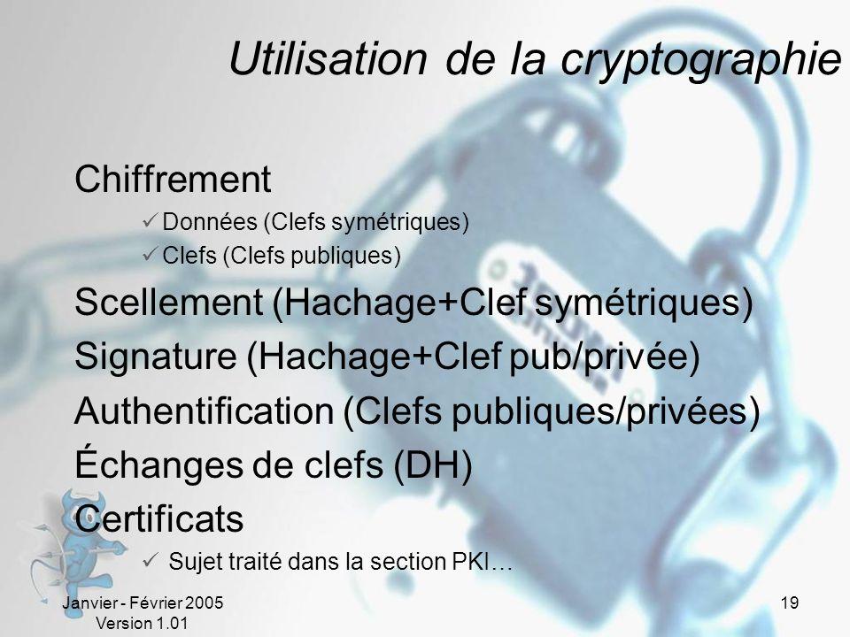 Janvier - Février 2005 Version 1.01 19 Utilisation de la cryptographie Chiffrement Données (Clefs symétriques) Clefs (Clefs publiques) Scellement (Hachage+Clef symétriques) Signature (Hachage+Clef pub/privée) Authentification (Clefs publiques/privées) Échanges de clefs (DH) Certificats Sujet traité dans la section PKI…
