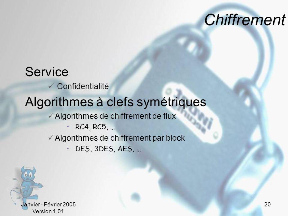 Janvier - Février 2005 Version 1.01 20 Chiffrement Service Confidentialité Algorithmes à clefs symétriques Algorithmes de chiffrement de flux RC4, RC5, … Algorithmes de chiffrement par block DES, 3DES, AES, …
