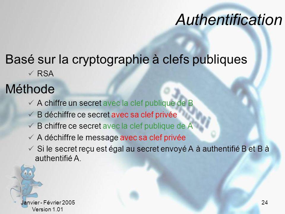 Janvier - Février 2005 Version 1.01 24 Authentification Basé sur la cryptographie à clefs publiques RSA Méthode A chiffre un secret avec la clef publique de B B déchiffre ce secret avec sa clef privée B chiffre ce secret avec la clef publique de A A déchiffre le message avec sa clef privée Si le secret reçu est égal au secret envoyé A à authentifié B et B à authentifié A.