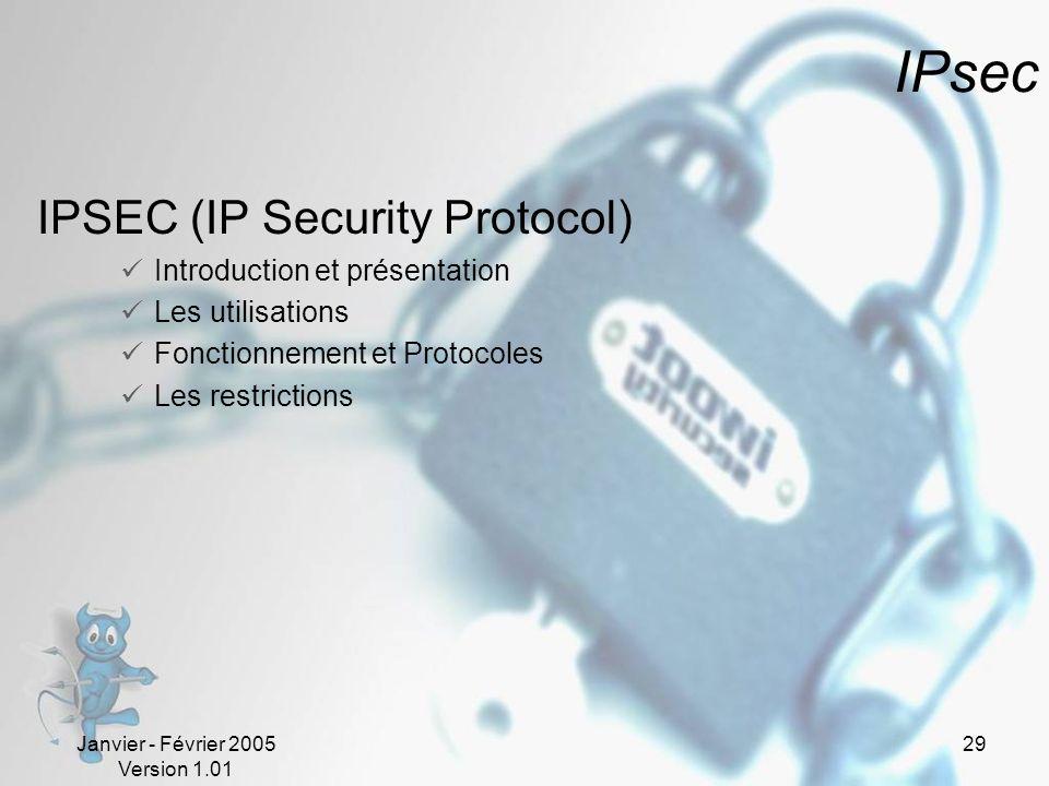 Janvier - Février 2005 Version 1.01 29 IPsec IPSEC (IP Security Protocol) Introduction et présentation Les utilisations Fonctionnement et Protocoles Les restrictions
