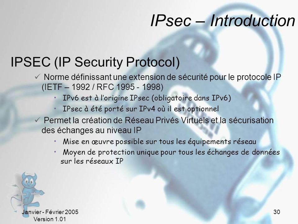 Janvier - Février 2005 Version 1.01 30 IPsec – Introduction IPSEC (IP Security Protocol) Norme définissant une extension de sécurité pour le protocole IP (IETF – 1992 / RFC 1995 - 1998) IPv6 est à lorigine IPsec (obligatoire dans IPv6) IPsec à été porté sur IPv4 où il est optionnel Permet la création de Réseau Privés Virtuels et la sécurisation des échanges au niveau IP Mise en œuvre possible sur tous les équipements réseau Moyen de protection unique pour tous les échanges de données sur les réseaux IP