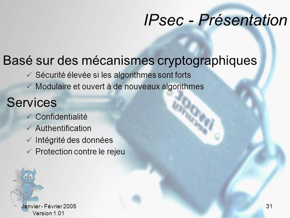 Janvier - Février 2005 Version 1.01 31 IPsec - Présentation Basé sur des mécanismes cryptographiques Sécurité élevée si les algorithmes sont forts Modulaire et ouvert à de nouveaux algorithmes Services Confidentialité Authentification Intégrité des données Protection contre le rejeu