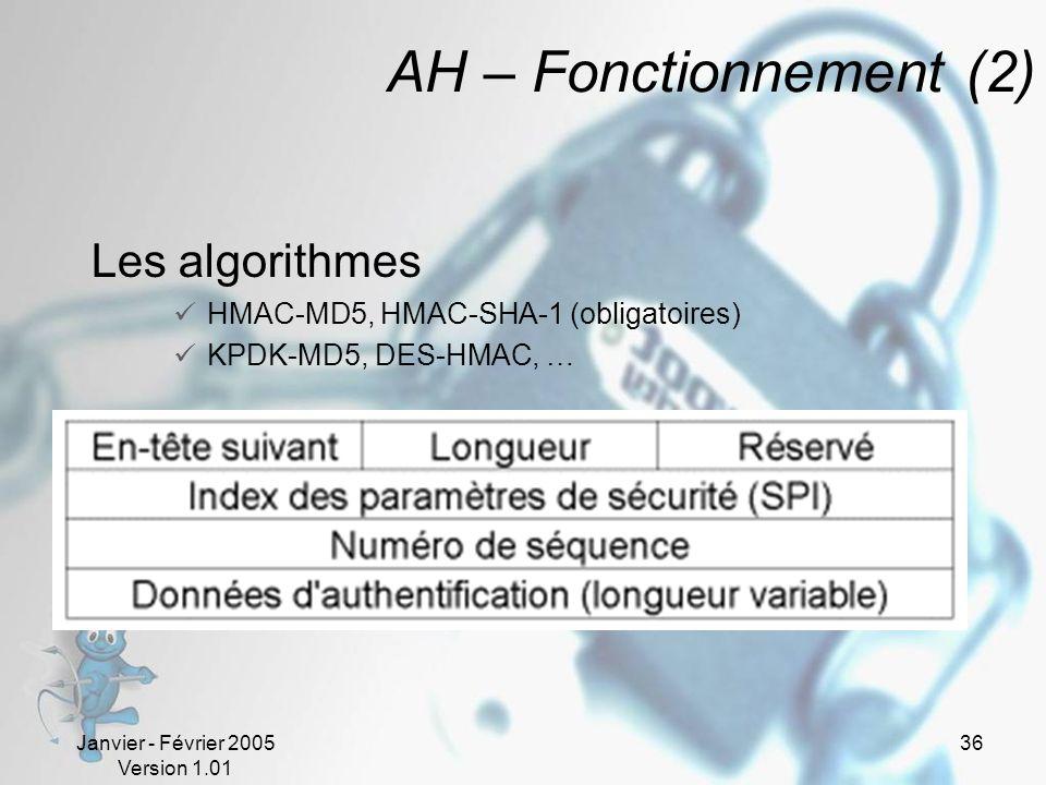 Janvier - Février 2005 Version 1.01 36 AH – Fonctionnement (2) Les algorithmes HMAC-MD5, HMAC-SHA-1 (obligatoires) KPDK-MD5, DES-HMAC, …