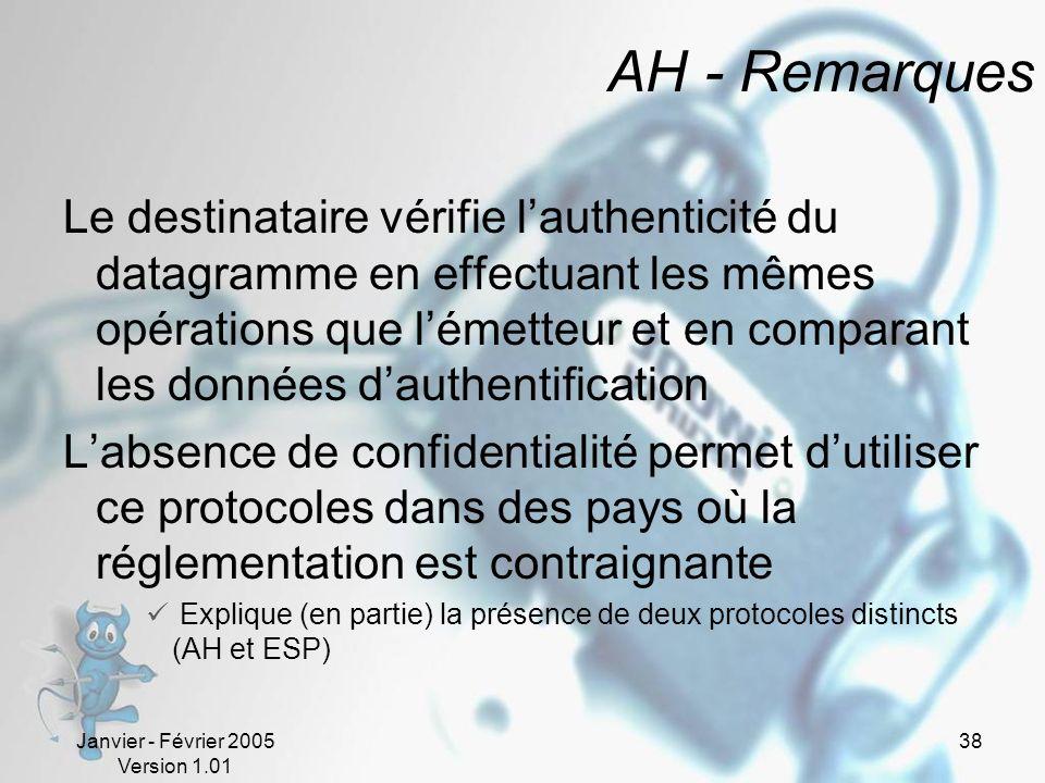 Janvier - Février 2005 Version 1.01 38 AH - Remarques Le destinataire vérifie lauthenticité du datagramme en effectuant les mêmes opérations que lémetteur et en comparant les données dauthentification Labsence de confidentialité permet dutiliser ce protocoles dans des pays où la réglementation est contraignante Explique (en partie) la présence de deux protocoles distincts (AH et ESP)