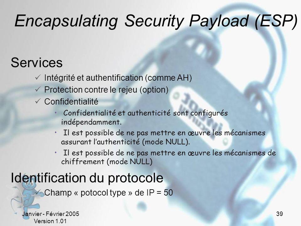 Janvier - Février 2005 Version 1.01 39 Encapsulating Security Payload (ESP) Services Intégrité et authentification (comme AH) Protection contre le rejeu (option) Confidentialité Confidentialité et authenticité sont configurés indépendamment.