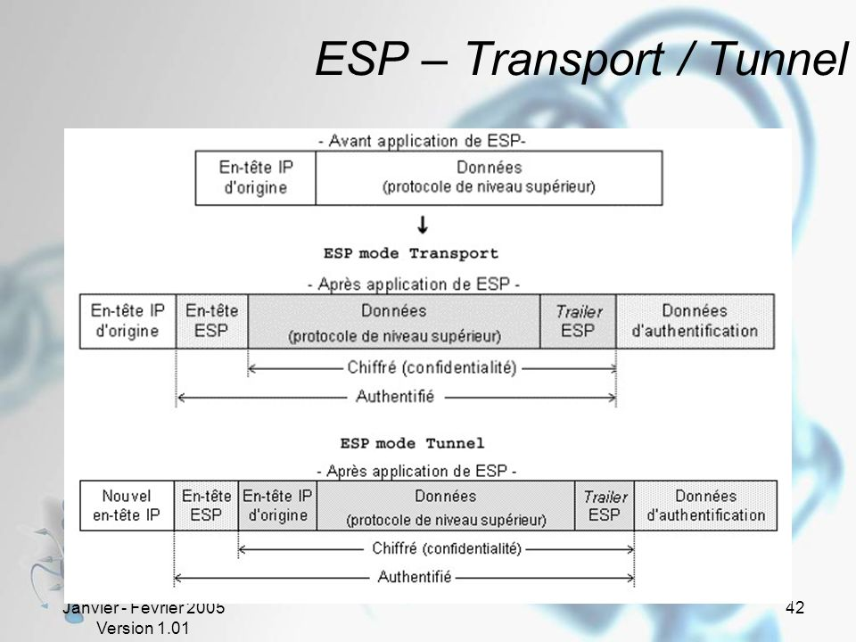 Janvier - Février 2005 Version 1.01 42 ESP – Transport / Tunnel