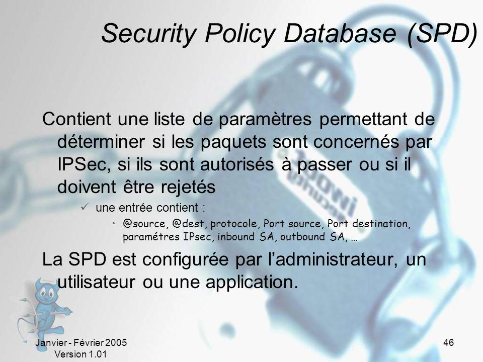 Janvier - Février 2005 Version 1.01 46 Security Policy Database (SPD) Contient une liste de paramètres permettant de déterminer si les paquets sont concernés par IPSec, si ils sont autorisés à passer ou si il doivent être rejetés une entrée contient : @source, @dest, protocole, Port source, Port destination, paramétres IPsec, inbound SA, outbound SA, … La SPD est configurée par ladministrateur, un utilisateur ou une application.