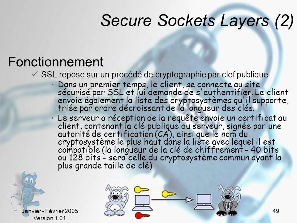 Janvier - Février 2005 Version 1.01 49 Secure Sockets Layers (2) Fonctionnement SSL repose sur un procédé de cryptographie par clef publique Dans un premier temps, le client, se connecte au site sécurisé par SSL et lui demande de s authentifier.