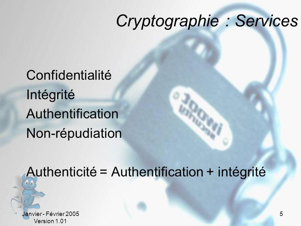 Janvier - Février 2005 Version 1.01 5 Cryptographie : Services Confidentialité Intégrité Authentification Non-répudiation Authenticité = Authentification + intégrité