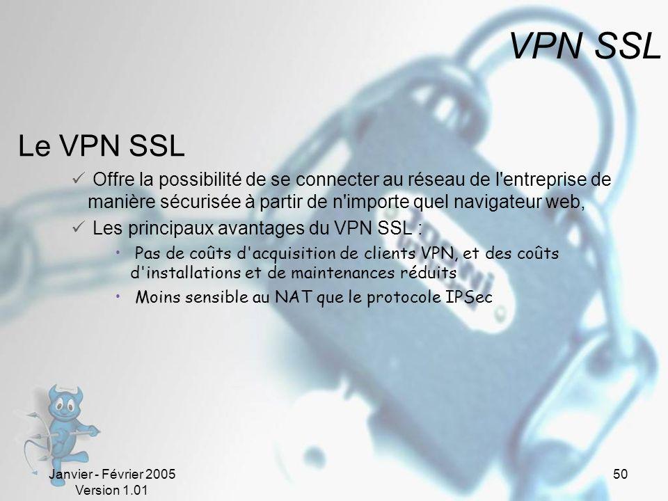 Janvier - Février 2005 Version 1.01 50 VPN SSL Le VPN SSL Offre la possibilité de se connecter au réseau de l entreprise de manière sécurisée à partir de n importe quel navigateur web, Les principaux avantages du VPN SSL : Pas de coûts d acquisition de clients VPN, et des coûts d installations et de maintenances réduits Moins sensible au NAT que le protocole IPSec