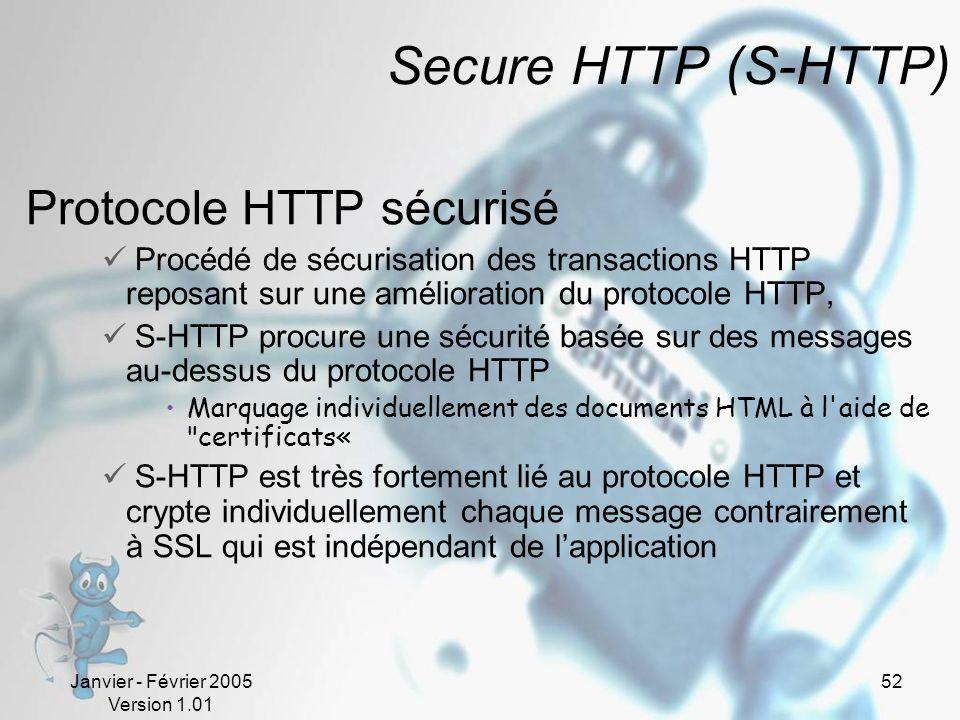 Janvier - Février 2005 Version 1.01 52 Secure HTTP (S-HTTP) Protocole HTTP sécurisé Procédé de sécurisation des transactions HTTP reposant sur une amélioration du protocole HTTP, S-HTTP procure une sécurité basée sur des messages au-dessus du protocole HTTP Marquage individuellement des documents HTML à l aide de certificats« S-HTTP est très fortement lié au protocole HTTP et crypte individuellement chaque message contrairement à SSL qui est indépendant de lapplication