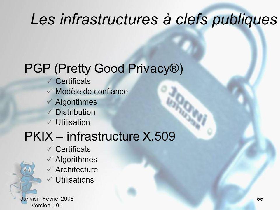 Janvier - Février 2005 Version 1.01 55 Les infrastructures à clefs publiques PGP (Pretty Good Privacy®) Certificats Modèle de confiance Algorithmes Distribution Utilisation PKIX – infrastructure X.509 Certificats Algorithmes Architecture Utilisations