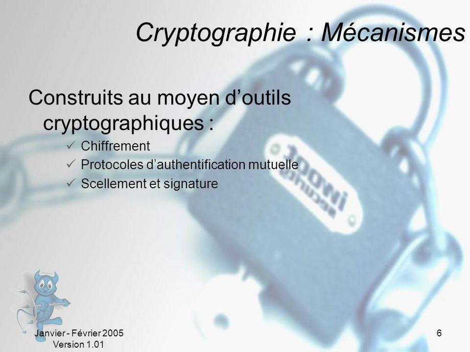Janvier - Février 2005 Version 1.01 6 Cryptographie : Mécanismes Construits au moyen doutils cryptographiques : Chiffrement Protocoles dauthentification mutuelle Scellement et signature