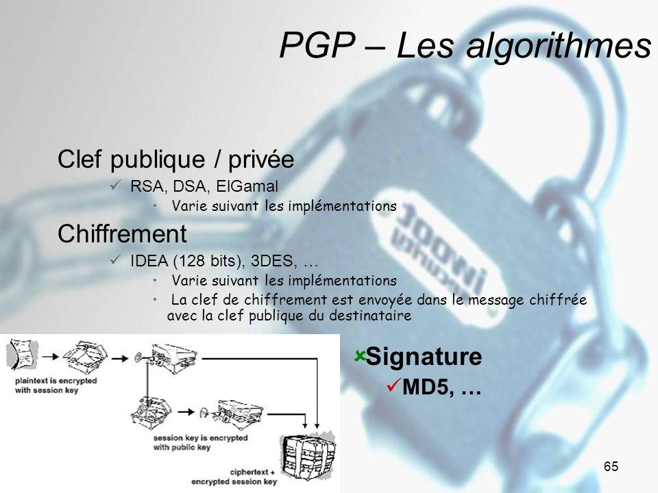 Janvier - Février 2005 Version 1.01 65 PGP – Les algorithmes Clef publique / privée RSA, DSA, ElGamal Varie suivant les implémentations Chiffrement IDEA (128 bits), 3DES, … Varie suivant les implémentations La clef de chiffrement est envoyée dans le message chiffrée avec la clef publique du destinataire Signature MD5, …