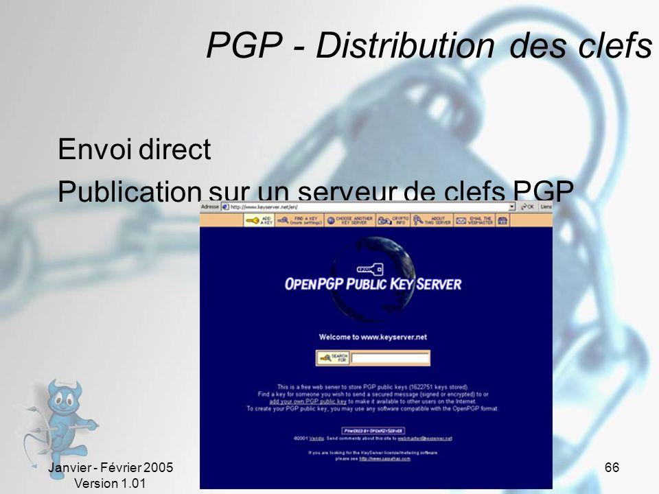 Janvier - Février 2005 Version 1.01 66 PGP - Distribution des clefs Envoi direct Publication sur un serveur de clefs PGP