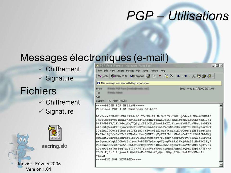 Janvier - Février 2005 Version 1.01 68 PGP – Utilisations Messages électroniques (e-mail) Chiffrement Signature Fichiers Chiffrement Signature