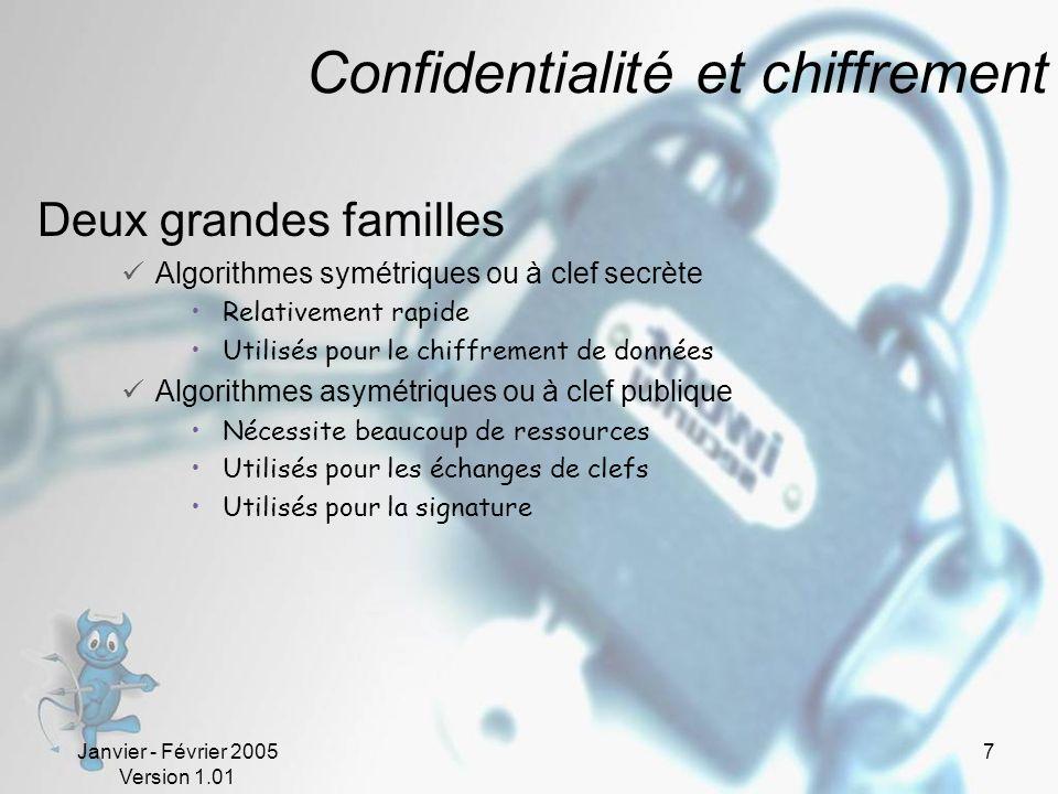 Janvier - Février 2005 Version 1.01 7 Confidentialité et chiffrement Deux grandes familles Algorithmes symétriques ou à clef secrète Relativement rapide Utilisés pour le chiffrement de données Algorithmes asymétriques ou à clef publique Nécessite beaucoup de ressources Utilisés pour les échanges de clefs Utilisés pour la signature