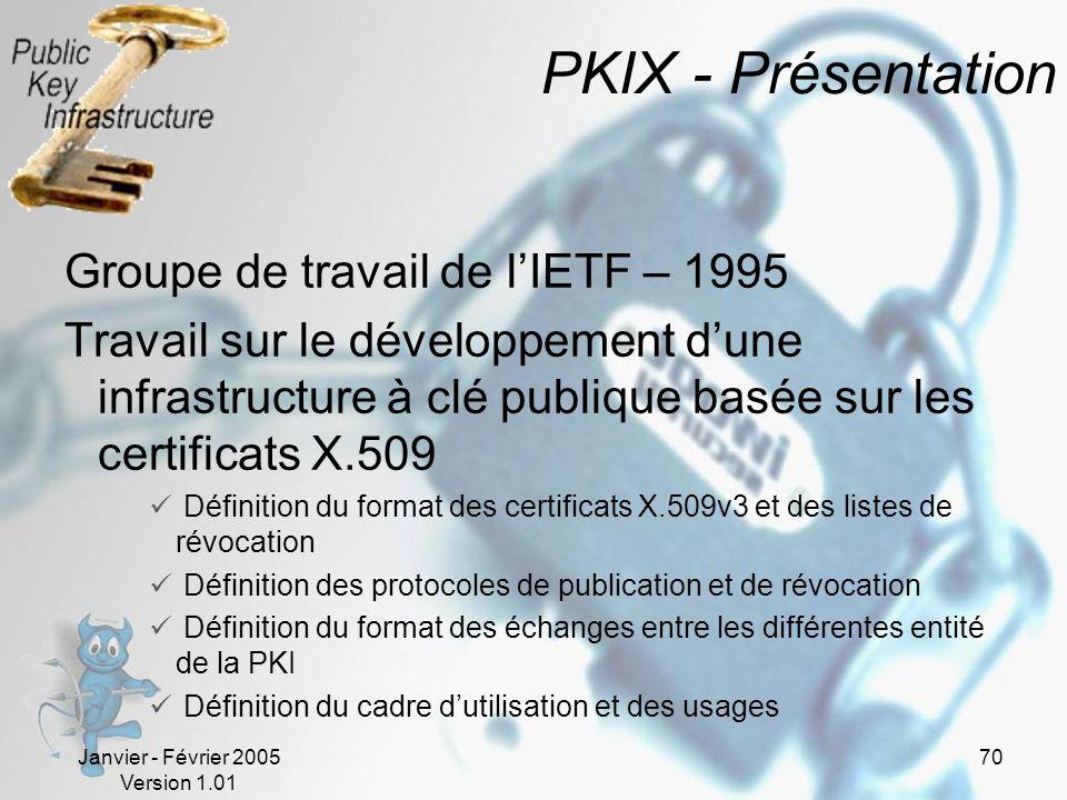 Janvier - Février 2005 Version 1.01 70 PKIX - Présentation Groupe de travail de lIETF – 1995 Travail sur le développement dune infrastructure à clé publique basée sur les certificats X.509 Définition du format des certificats X.509v3 et des listes de révocation Définition des protocoles de publication et de révocation Définition du format des échanges entre les différentes entité de la PKI Définition du cadre dutilisation et des usages