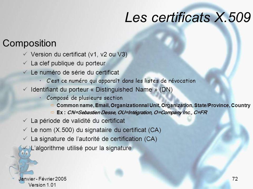 Janvier - Février 2005 Version 1.01 72 Les certificats X.509 Composition Version du certificat (v1, v2 ou V3) La clef publique du porteur Le numéro de série du certificat Cest ce numéro qui apparaît dans les listes de révocation Identifiant du porteur « Distinguished Name » (DN) Composé de plusieurs section Common name, Email, Organizationnal Unit, Organization, State/Province, Country Ex : CN=Sebastien Desse, OU=Intégration, O=Company Inc., C=FR La période de validité du certificat Le nom (X.500) du signataire du certificat (CA) La signature de lautorité de certification (CA) Lalgorithme utilisé pour la signature