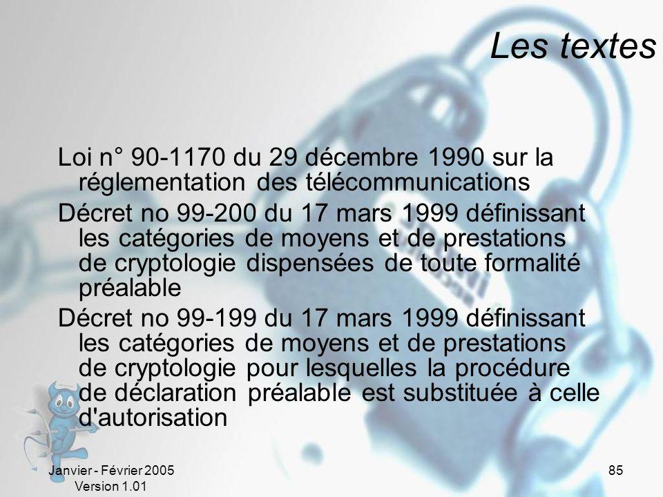 Janvier - Février 2005 Version 1.01 85 Les textes Loi n° 90-1170 du 29 décembre 1990 sur la réglementation des télécommunications Décret no 99-200 du 17 mars 1999 définissant les catégories de moyens et de prestations de cryptologie dispensées de toute formalité préalable Décret no 99-199 du 17 mars 1999 définissant les catégories de moyens et de prestations de cryptologie pour lesquelles la procédure de déclaration préalable est substituée à celle d autorisation