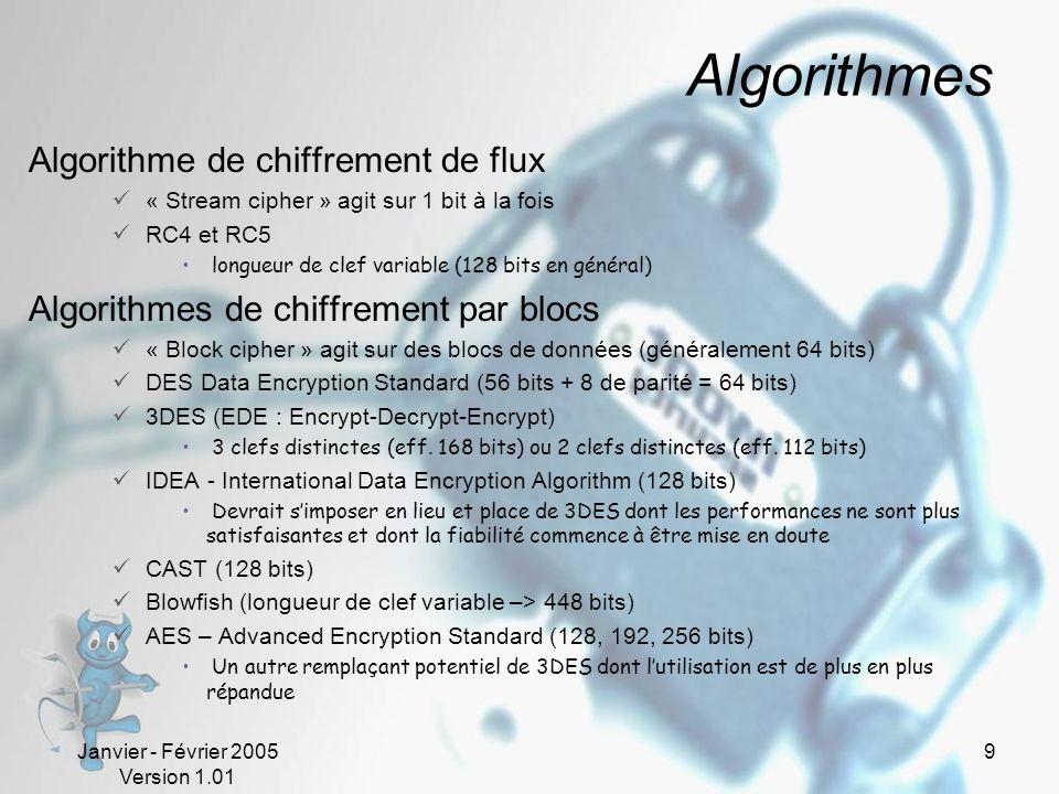 Janvier - Février 2005 Version 1.01 9 Algorithmes Algorithme de chiffrement de flux « Stream cipher » agit sur 1 bit à la fois RC4 et RC5 longueur de clef variable (128 bits en général) Algorithmes de chiffrement par blocs « Block cipher » agit sur des blocs de données (généralement 64 bits) DES Data Encryption Standard (56 bits + 8 de parité = 64 bits) 3DES (EDE : Encrypt-Decrypt-Encrypt) 3 clefs distinctes (eff.