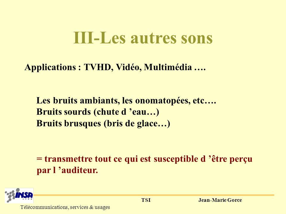TSIJean-Marie Gorce Télécommunications, services & usages 4° Musique : - Somme de plusieurs notes (pitch) - Différentes formes d ondes (les instruments) + chant =parole modulée.