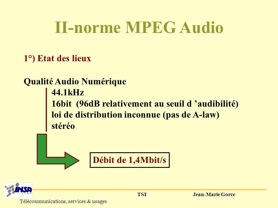 TSIJean-Marie Gorce Télécommunications, services & usages 5° Nouvelle approche de compression : utilisée dans MPEG Principe : utiliser les propriétés de masquage de certaines zones de fréquence pour réduire le débit nécessaire.