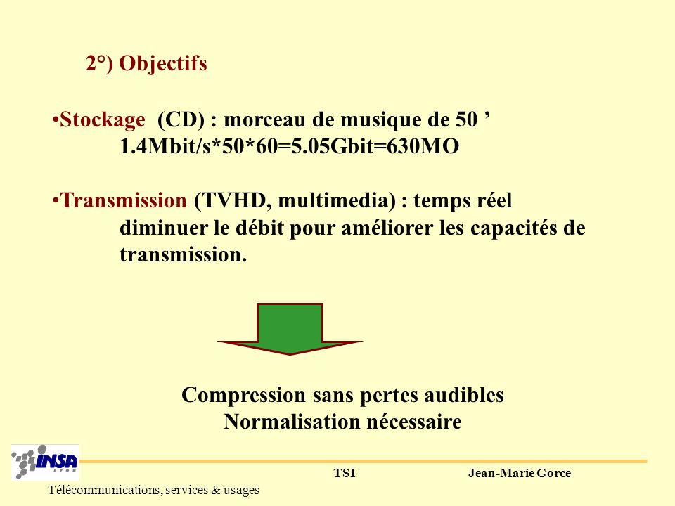 TSIJean-Marie Gorce Télécommunications, services & usages II-norme MPEG Audio 1°) Etat des lieux Qualité Audio Numérique 44.1kHz 16bit (96dB relativement au seuil d audibilité) loi de distribution inconnue (pas de A-law) stéréo Débit de 1,4Mbit/s