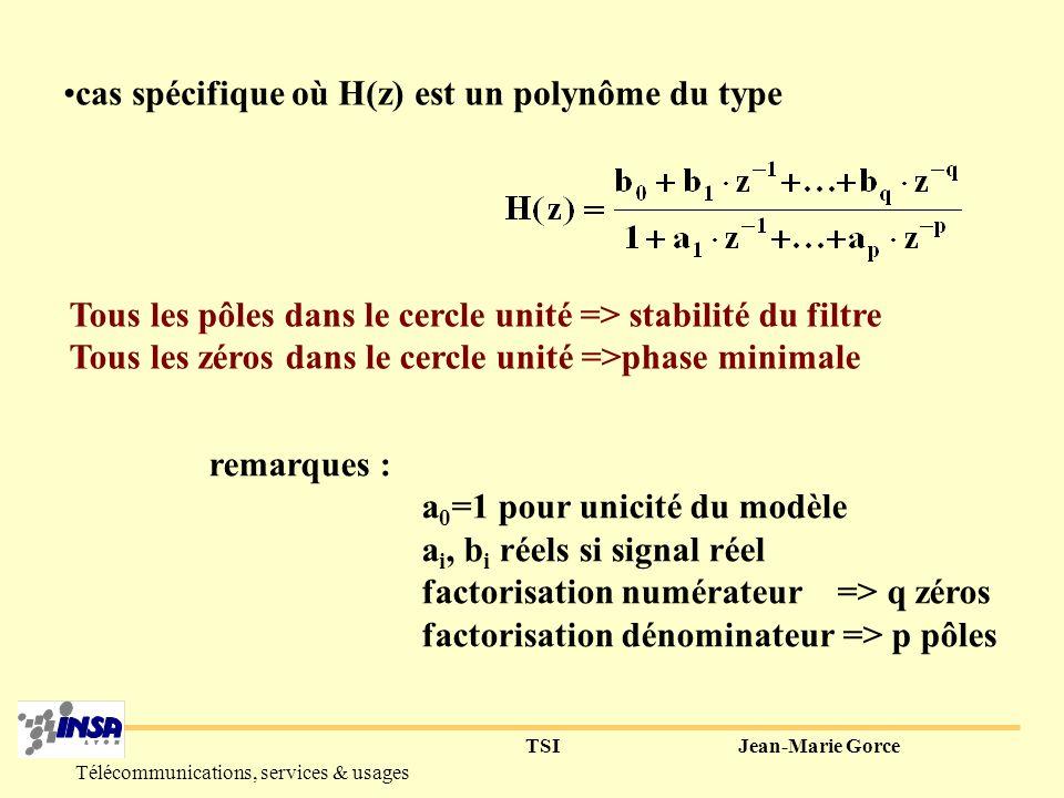TSIJean-Marie Gorce Télécommunications, services & usages Fonction de transfert numérique H(z) h[k] x[k] y[k]=(x*h)| k X(z) H(z) Y(z)=X(z).H(z) X d (f) H d (f) Y d (f) z=exp(j2 f) Comme pour la TFD, le passage dans le domaine des z, permet de remplacer lopération de convolution par une opération de multiplication => mathématiquement très intéressant