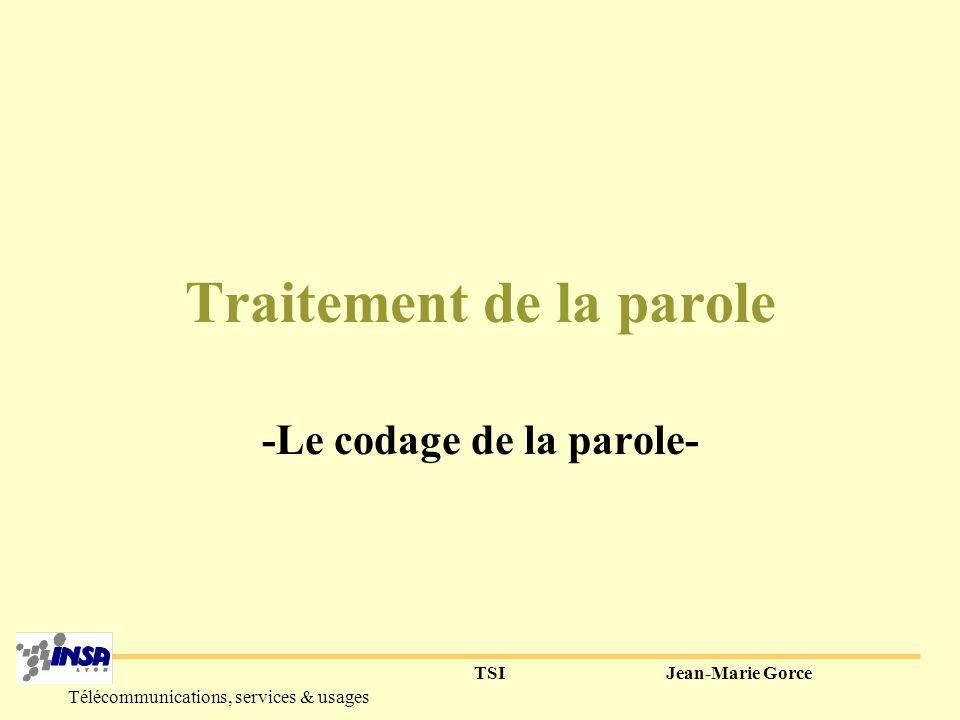 TSIJean-Marie Gorce Télécommunications, services & usages 4) En résumé complexité de la production de la parole (sons voisés, occlusifs etc...).