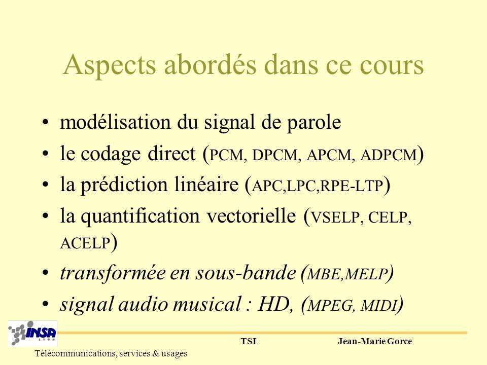 TSIJean-Marie Gorce Télécommunications, services & usages Aspects abordés dans ce cours modélisation du signal de parole le codage direct ( PCM, DPCM, APCM, ADPCM ) la prédiction linéaire ( APC,LPC,RPE-LTP ) la quantification vectorielle ( VSELP, CELP, ACELP ) transformée en sous-bande ( MBE,MELP ) signal audio musical : HD, ( MPEG, MIDI )