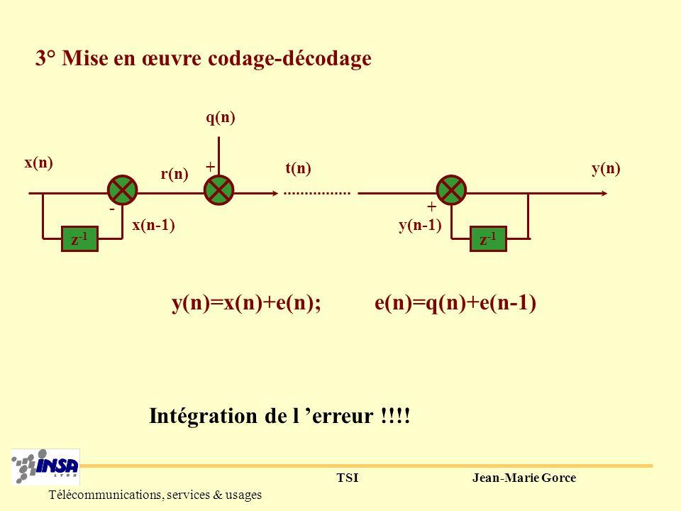 TSIJean-Marie Gorce Télécommunications, services & usages 2° Gain RSB Si x (1)>0.5, r 2 < x 2, A nombre de niveaux constant, on peut réduire le pas de quantification et améliorer le RSB dans un rapport r 2 / x 2