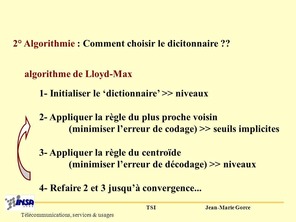 TSIJean-Marie Gorce Télécommunications, services & usages Exemple pour M=2 : le codage vectoriel permet d adapter la répartition des codes.