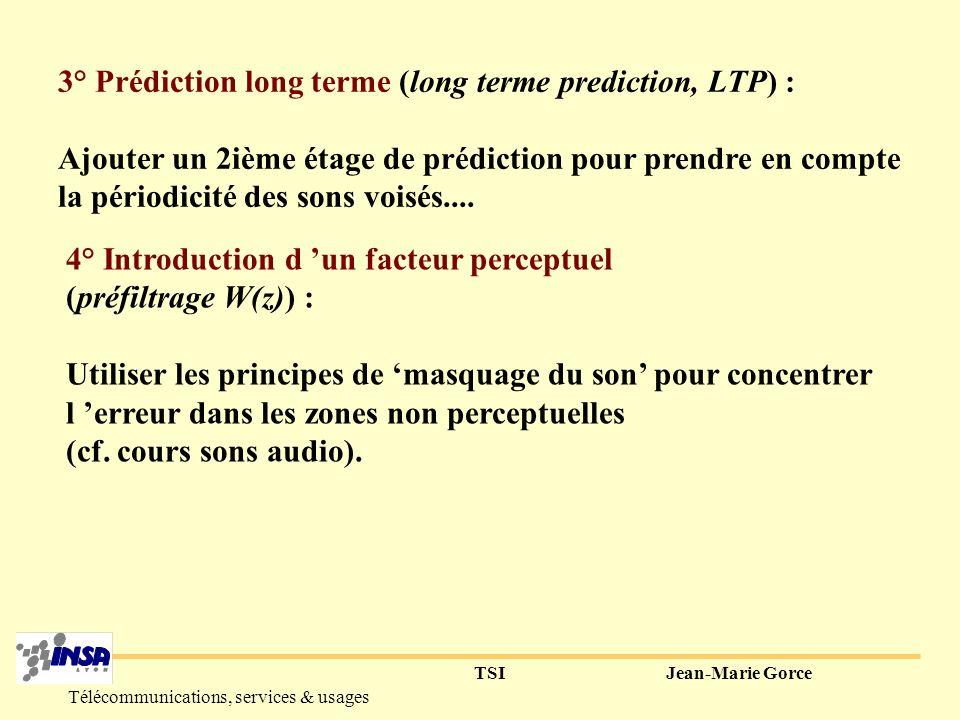 TSIJean-Marie Gorce Télécommunications, services & usages 2° Codeur prédictif excité par des codes (Code Excited Linear Predictive Coding, CELP) : Minimiser les distorsions en minimisant l erreur relative au signal initial.