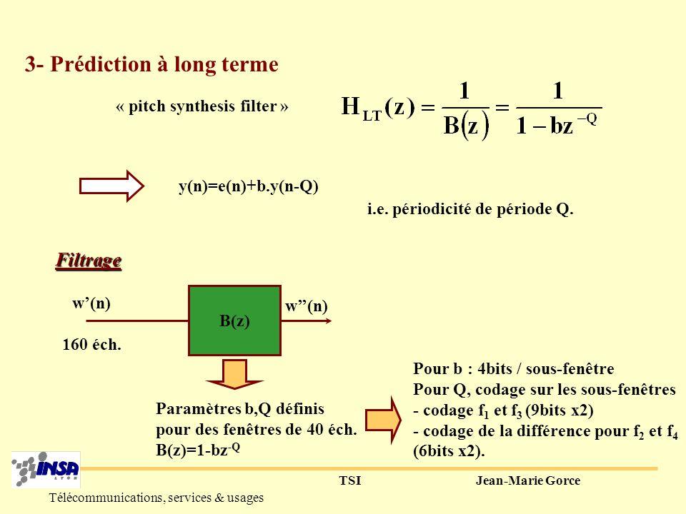 TSIJean-Marie Gorce Télécommunications, services & usages s(n) w(n) Reste une certaine périodicité >>> Prédiction long terme