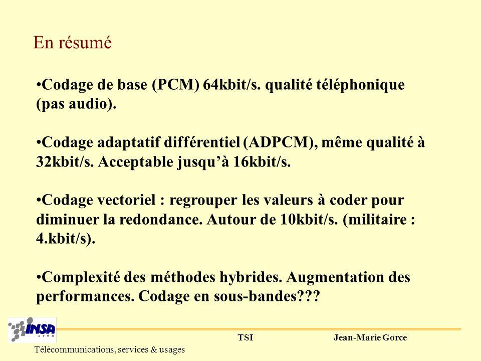 TSIJean-Marie Gorce Télécommunications, services & usages Codage de l erreur W(n) par mots codes : c1+c2+c3+c4+c5 Mot Code i : 2 impulsions => - position de chaque impulsion (8 positions) sur 3bits.