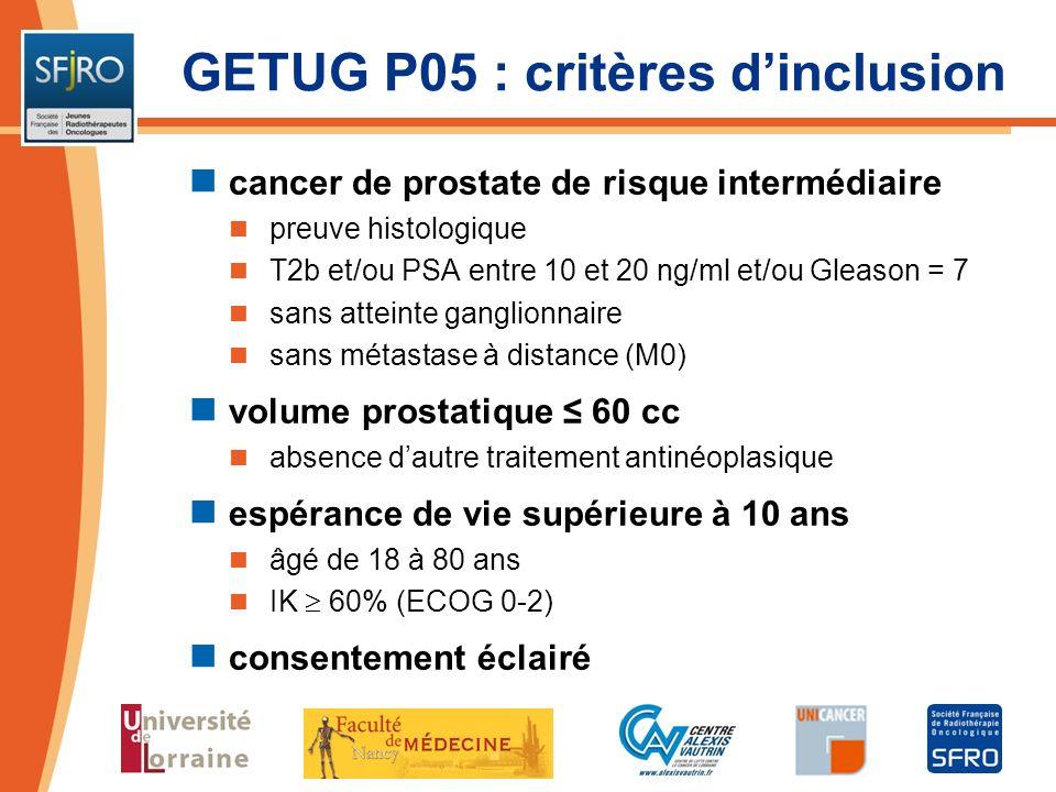 GETUG P05 : critères dinclusion cancer de prostate de risque intermédiaire preuve histologique T2b et/ou PSA entre 10 et 20 ng/ml et/ou Gleason = 7 sa